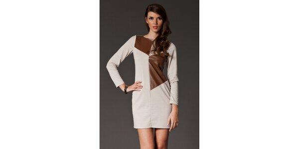 Dámské béžové šaty s hnědou aplikací Figl