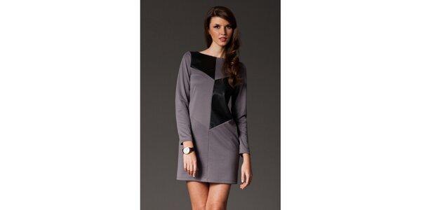 Dámské šedé šaty s černou aplikací Figl