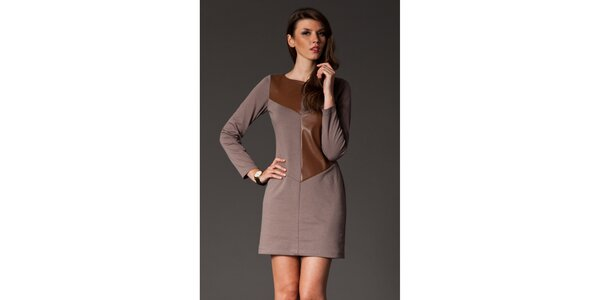 Dámské mokka šaty s hnědou aplikací Figl