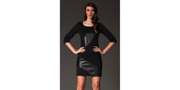 Dámské černé šaty s lesklými pruhy Figl