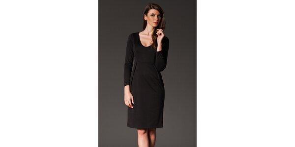 Dámské černé šaty se skladem Figl