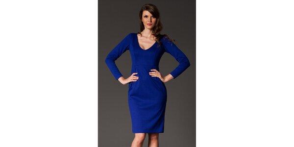 Dámské ultramarínově modré šaty se skladem Figl