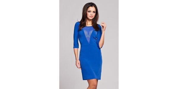 Dámské modré svůdné šaty s transparentním véčkem Figl