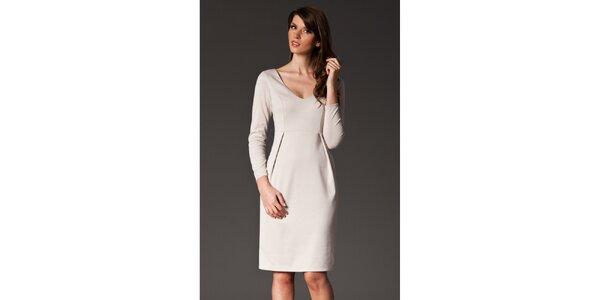 Dámské béžové šaty se skladem Figl