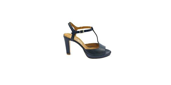 Dámské temně modré páskové sandálky s přezkou Eye