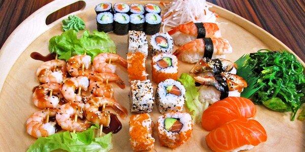 39 ks sushi s krevetami či úhořem i s sebou