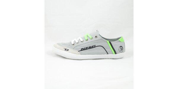 Pánské šedo-zelené tenisky Diesel