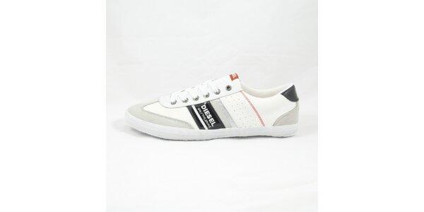 Pánské černo-bílé tenisky s červeným detailem Diesel