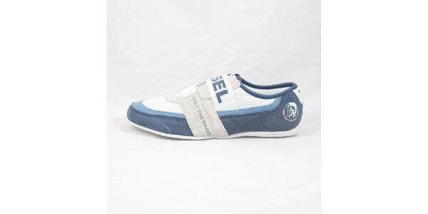Pánské modro-bílé tenisky s prošíváním Diesel