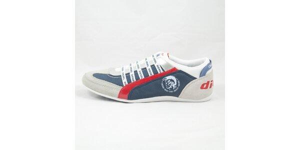 Pánské šedo-modré tenisky s červenými detaily Diesel