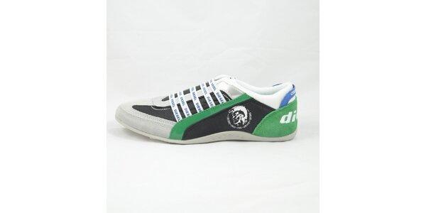 Pánské šedo-zelené tenisky s modrými detaily Diesel