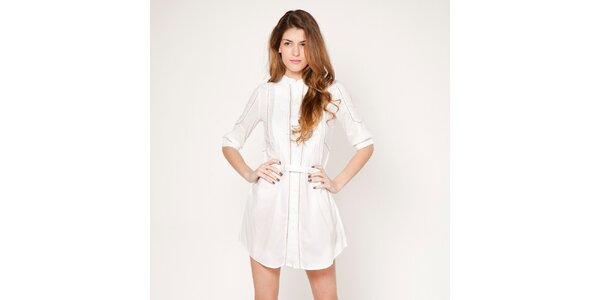 Dámské bílé propínací šaty s jemným proužkem Tantra