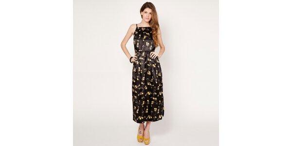Dámské černé šaty se žlutými květy Tantra