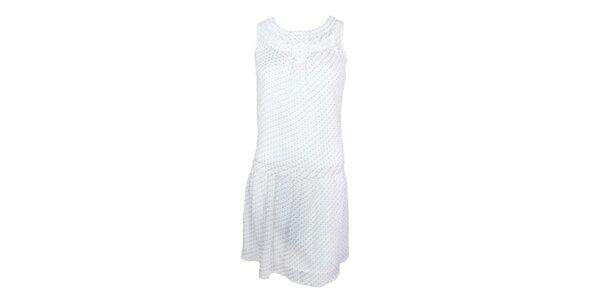 Dámské bílé minišaty bez rukávů s jemným vzorkem Tantra