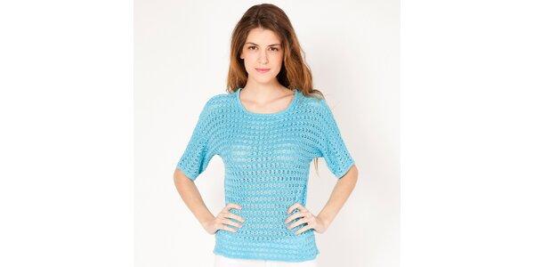 Dámský modrý pletený svetřík s volnými rukávy Tantra
