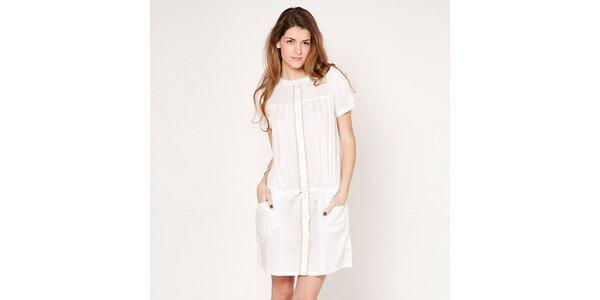 Dámské bílé propínací šaty s balónkovými rukávy Tantra
