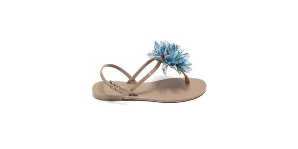 Dámské béžové sandálky s azurovou látkovou květinou Favolla