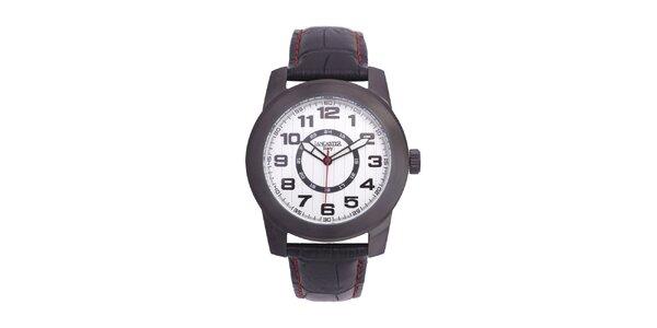 Pánské černé analogové hodinky s bílým ciferníkem Lancaster