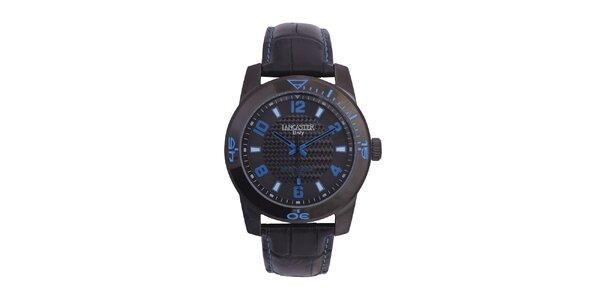 Pánské černé analogové hodinky s modrým detaily Lancaster
