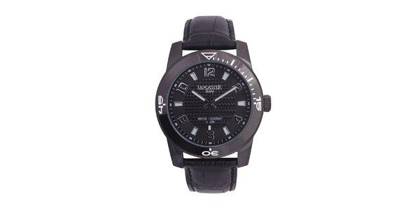 Pánské černé analogové hodinky s šedými detaily Lancaster