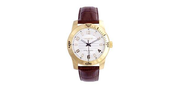 Pánské hnědo-zlaté analogové hodinky Lancaster