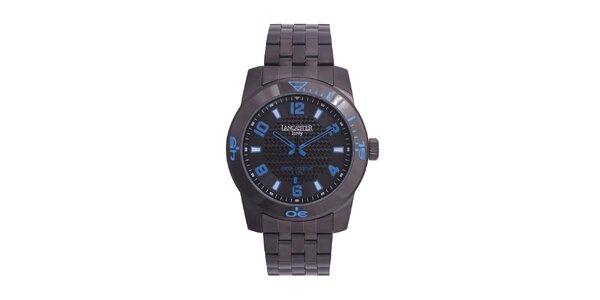 Pánské černé analogové hodinky s modrými detaily Lancaster