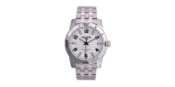 Pánské stříbrno-platinové analogové hodinky Lancaster