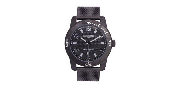 Pánské černé analogové hodinky z ušlechtilé nerez oceli Lancaster