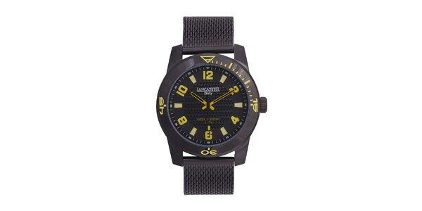Pánské černé analogové hodinky se žlutými detaily Lancaster