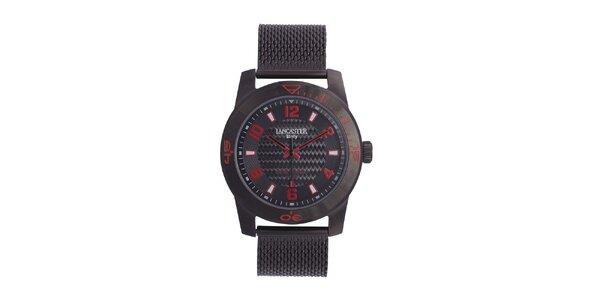Pánské černé analogové hodinky s červenými detaily Lancaster