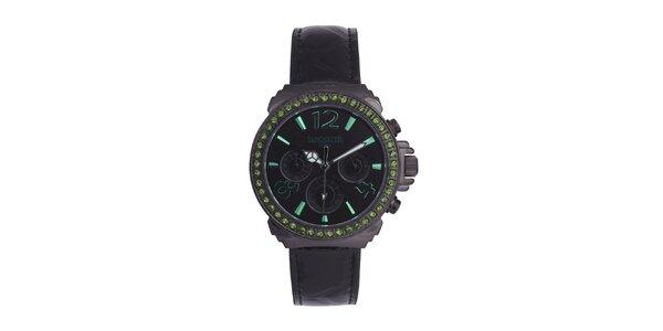 Dámské černé hodinky se zelenými kamínky a koženým řemínkem Lancaster
