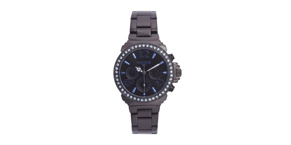 Dámské černé ocelové hodinky s modrými kamínky Lancaster