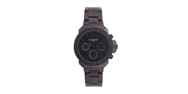 Dámské černé ocelové hodinky s černými kamínky Lancaster