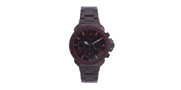 Dámské černé ocelové hodinky s rudými kamínky Lancaster