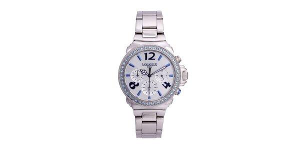 Dámské stříbrné ocelové hodinky s kamínky Lancaster