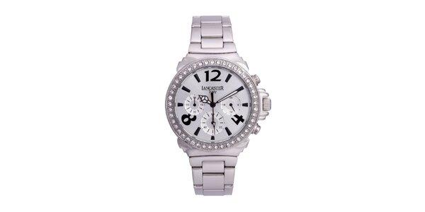 Dámské stříbrné ocelové hodinky s bílými kamínky Lancaster