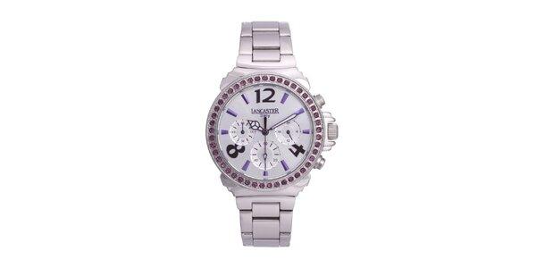 Dámské stříbrné ocelové hodinky s fialovými kamínky Lancaster