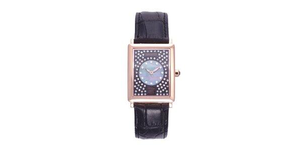 Dámské černo-zlaté analogové hodinky s krystaly Swarovski Lancaster