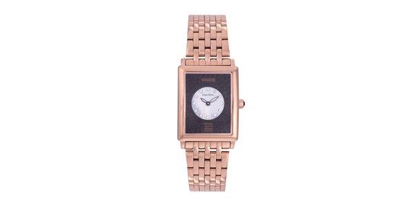 Dámské zlaté analogové hodinky s černými krystaly Swarovski Lancaster