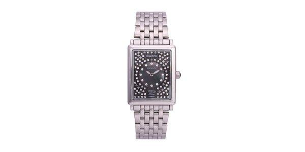 Dámské stříbrné analogové hodinky s krystaly Swarovski Lancaster