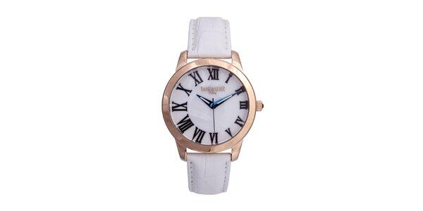 Dámské zlaté hodinky s bílým koženým řemínkem a kulatým ciferníkem Lancaster