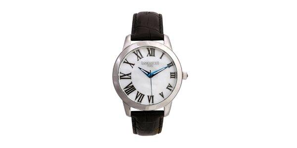 Dámské stříbrné hodinky s černým koženým řemínkem a kulatým ciferníkem Lancaster