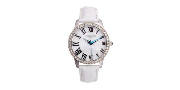 Dámské stříbrné hodinky s bílým koženým řemínkem Lancaster