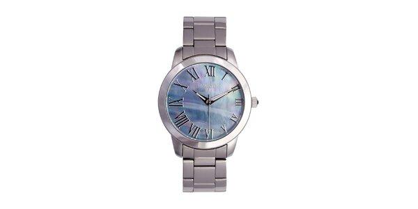 Dámské stříbrné hodinky s metalickým ciferníkem Lancaster