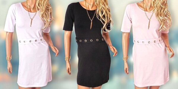 Elegantní dámské šaty s páskem