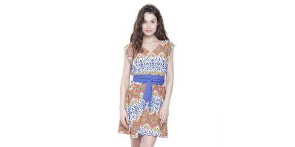 Dámské oranžovo-modré pestré šaty s modrým páskem Kool