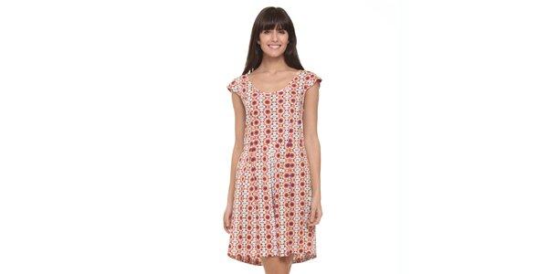 Dámské růžovo-bílé letní šaty s psychedelickým vzorkem Kool