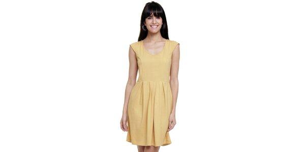 Dámské vanilkově žluté šaty se sklady Kool