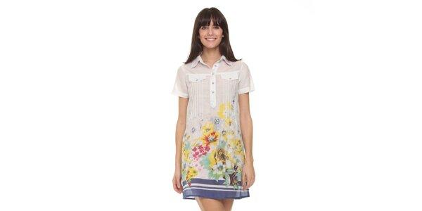 Dámské bílé šaty s květy a modrým spodním lemem Kool