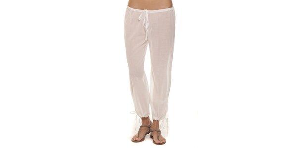 Dámské bílé kalhoty s mašličkami Kool